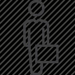 businessman, case, professional icon