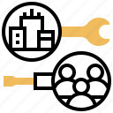 division, operating, repair, seller, support icon