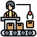 commerce, convey, factory, package, production icon