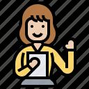 assistance, employee, help, secretory, support icon