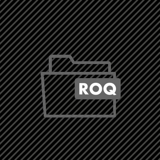 file, filename, film, folder, format, roq, video icon