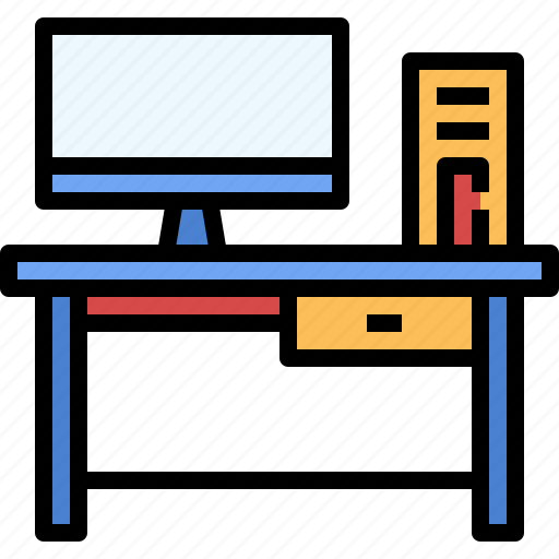 computer, furniture, office, table, workplace icon