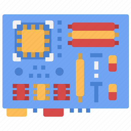 computer, cpu, digital, motherboard, parts, technology, tools icon