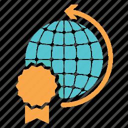 award, awards, certificate, global, globe, planet, worldwide icon