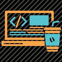 coffee, coffee break, computer, development, web, working time icon