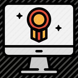 award, badge, computer, monitor, prize, technology, winner icon