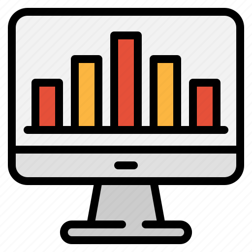 analysis, bar, computer, data, graph, report, technology icon