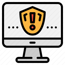 alert, attention, computer, monitor, security, shield, technology icon