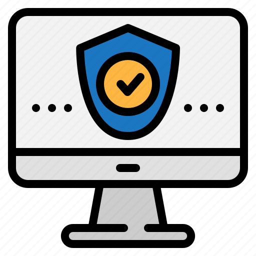 computer, monitor, protection, security, shield, technology icon