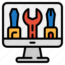 computer, monitor, repair, setting, system, technology, tools icon