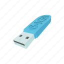 cartoon, drive, flash, memory, plug, storage, technology icon