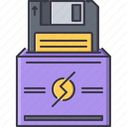 computer, data, disk, floppy, information, technology icon