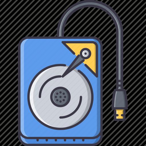 computer, data, disk, external, hard, information, technology icon