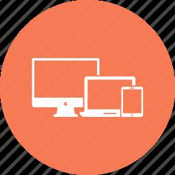 desktop, imac, ipad, iphone, laptop, monitor, respons icon