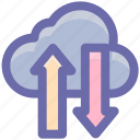 cloud, cloud computing, cloud download, cloud network, cloud upload, up and down icon
