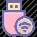 data saver flash, data stick, flash, flash drive, usb, wireless usb icon