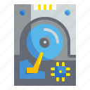computer, disk, drive, electronic, hard icon
