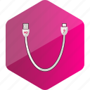 cable, computer, data cable, device, hardware icon, hexagon icon