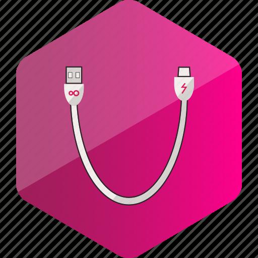 cable, computer, data cable, device, hardware icon, hexagon icon