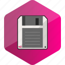 computer, device, disk, floppy disc, hardware icon, hexagon icon