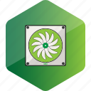 computer, device, fan, hardware icon, hexagon icon
