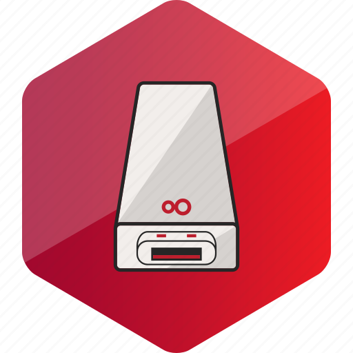 computer, device, flash, hardware icon, hexagon, usb icon