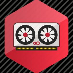 computer, device, gpu, graphic card, hardware icon, hexagon icon