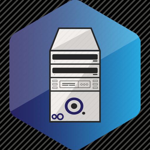 cabinet, computer, device, hardware icon, hexagon icon