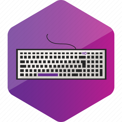 computer, device, hardware icon, hexagon, keyboard icon