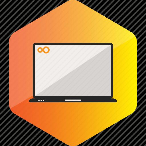 computer, device, hardware icon, hexagon, laptop, notebook icon