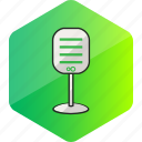 computer, device, hardware icon, hexagon, microphone icon