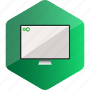 computer, device, hardware icon, hexagon, monitor icon