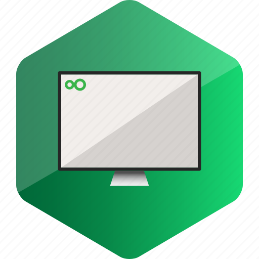 computer, device, hardware icon, hexagon, monitor icon