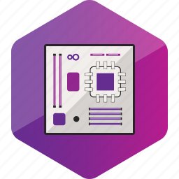 computer, device, hardware icon, hexagon, motherboard icon