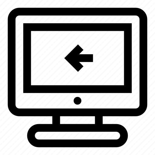 back, computer, display, import, include, monitor, screen icon