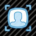 detection, face, face recognition, facial, scan icon