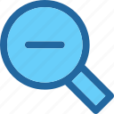 focus, magnify, research, tool, view, zoom, zoom out icon