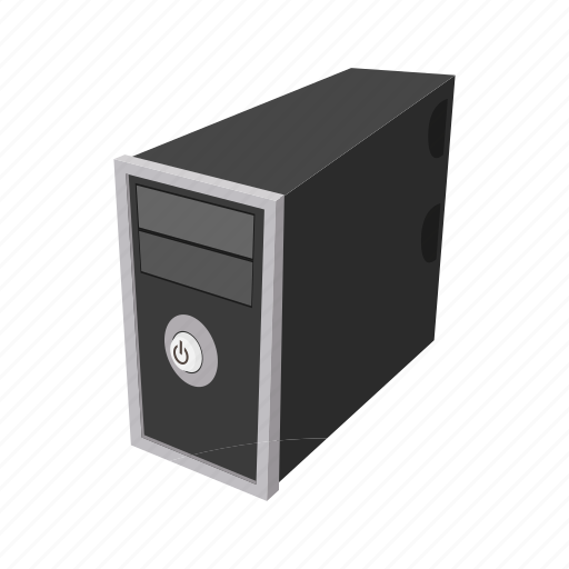 cartoon, case, computer, object, server, system, technology icon