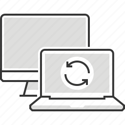 computer, file transfer, interface, internet, laptop, share, synchronisation icon