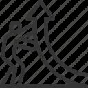 arrow, graph, growth, market, rising, stick man, success icon