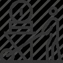cash, earnings, money, profit, stick man, trolley, wheelbarrow icon