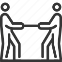 competition, court, fight, opposition, person, rope pulling, stick man icon