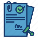 approval, contract, document, signing icon