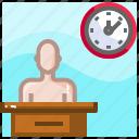 clock, desk, employee, office worker, routine, work, worker icon