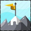 aim, career, flag, goal, mountains, objective, target icon
