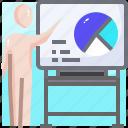 board, chart, conference, graph, graphs, person, presentation icon