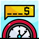 clock, dollar, growth, invest, money, stats, time icon