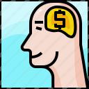 business, dollar, head, idea, money, startup, think icon