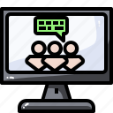 chat, communication, computer, message, monitor, screen, video icon