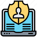 data, notebook, privacy, protection, security icon